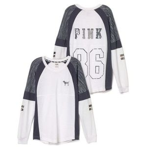 VS PINK Varsity V-Neck Bling Colorblock NWT Med LE